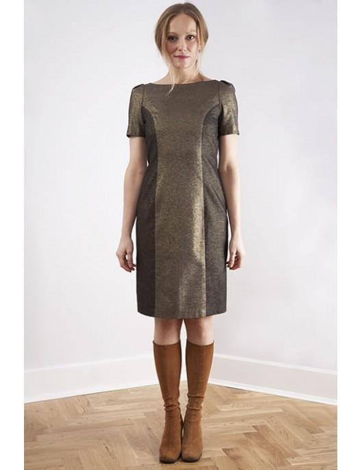 Złota sukienka z bawełny