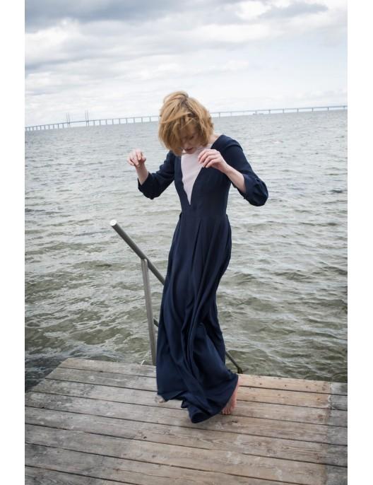 Long silk navy dress