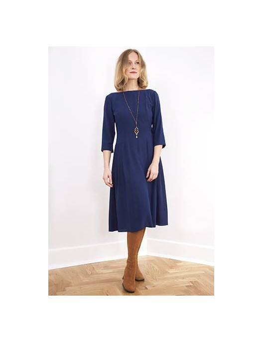 Silk navy dress