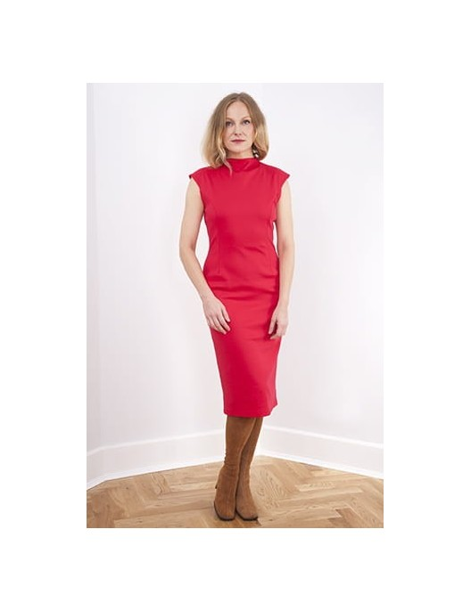 Red dress with unique cut...
