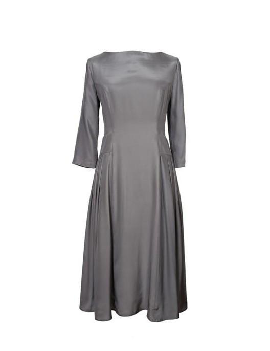 Szara sukienka jedwabna