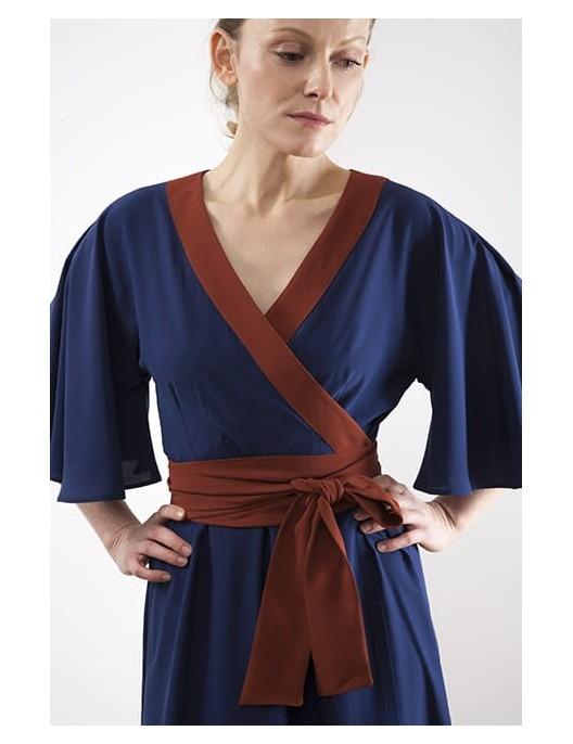 Kimonowa sukienka jedwabna