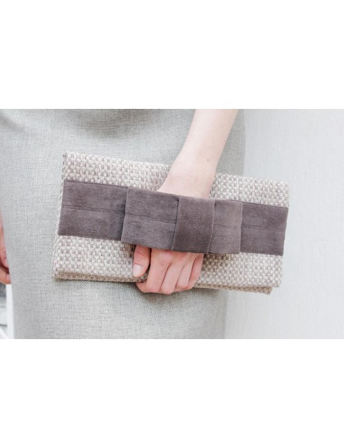 Clutch bag - beige with a...