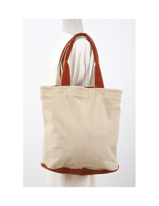 Ecru shopperbag with orange...