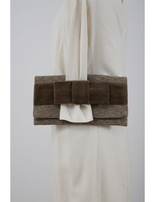 Beige clutch bag made of...