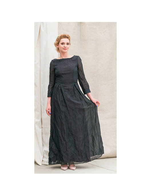 Crumpled effect long dress