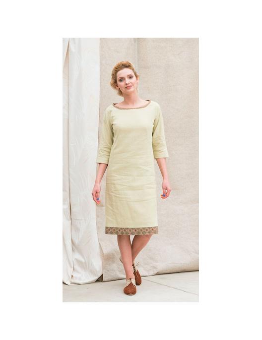 Lniana sukienka limonkowa,...