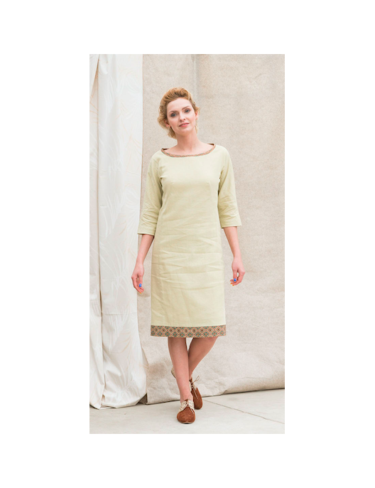 Lime linen dress with silk...