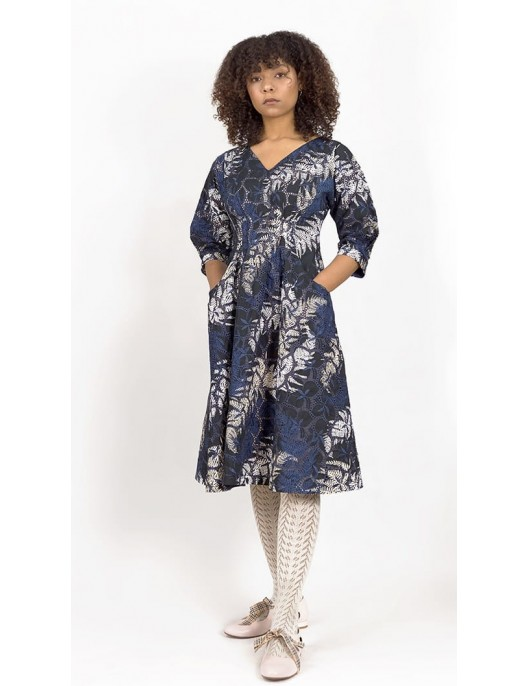 Navy blue floral dress with...