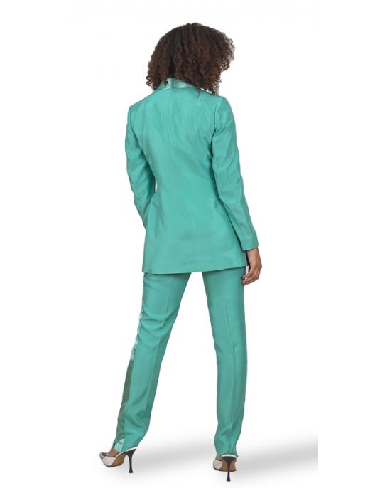 Turkusowe spodnie wiskozowe