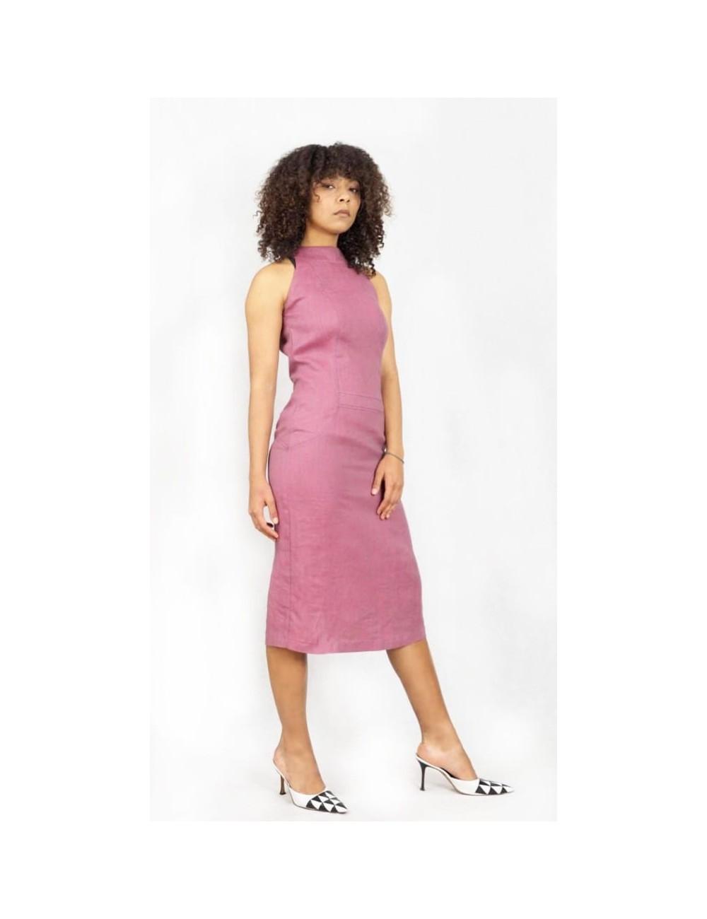 Lniana sukienka w kolorze melanżowego różu Kolor Różowy