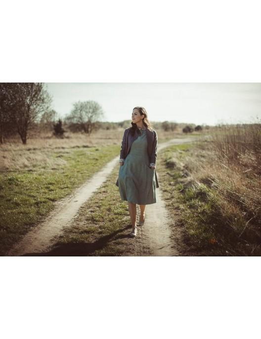 Limonkowa sukienka z lnu
