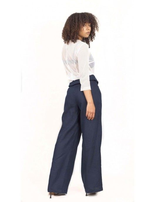 Linen long pants - navy blue