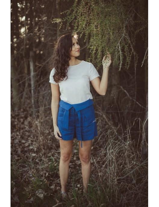 Krótkie niebieskie szorty z...