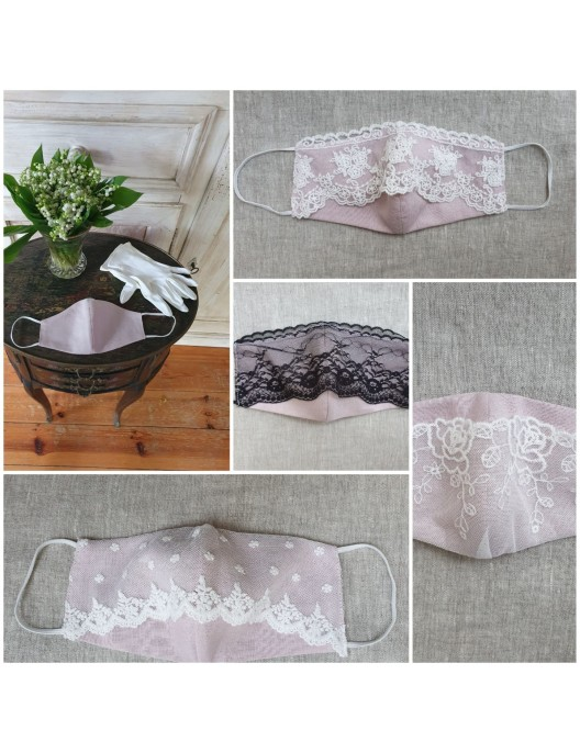 Linen mask with white lace...