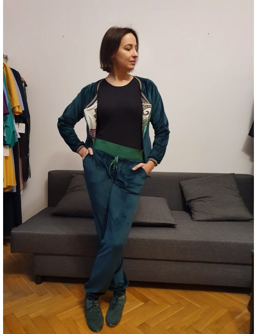 Dark green velur trousers