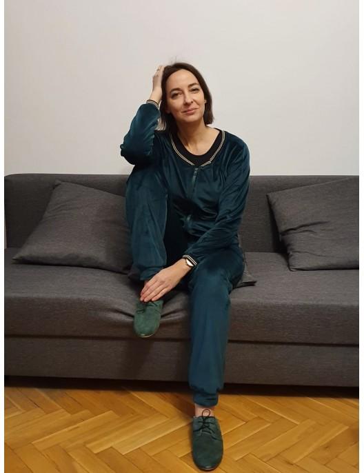 Zielone welurowe spodnie