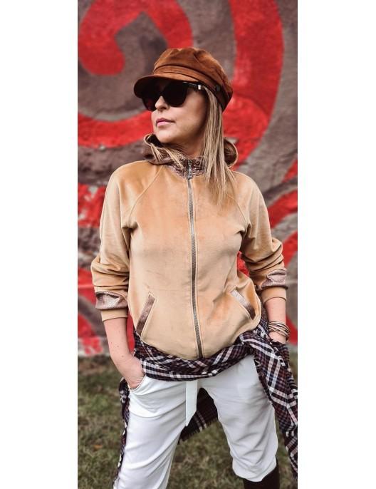 Beige hoodie with sequin hood