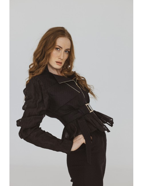 Black linen jacket with...