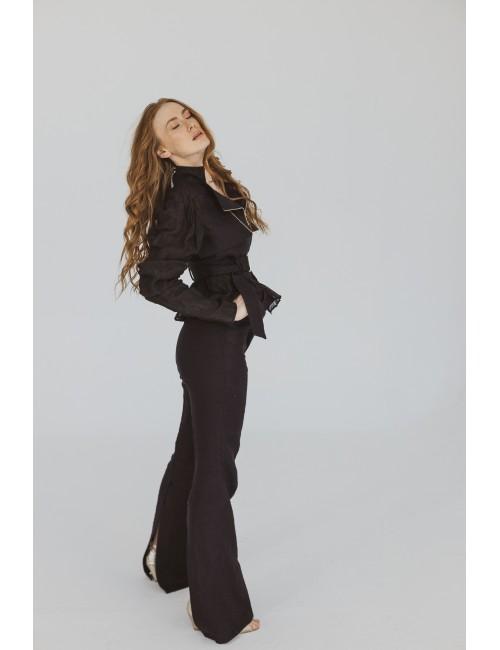 Długie czarne spodnie z...