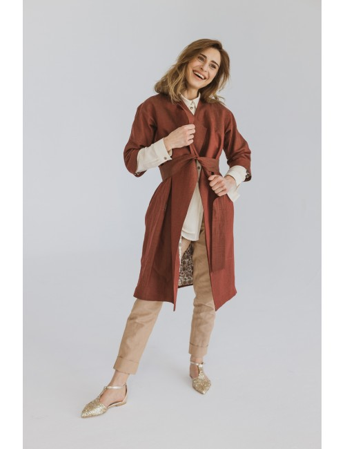 Lniany płaszczyk w kolorze...
