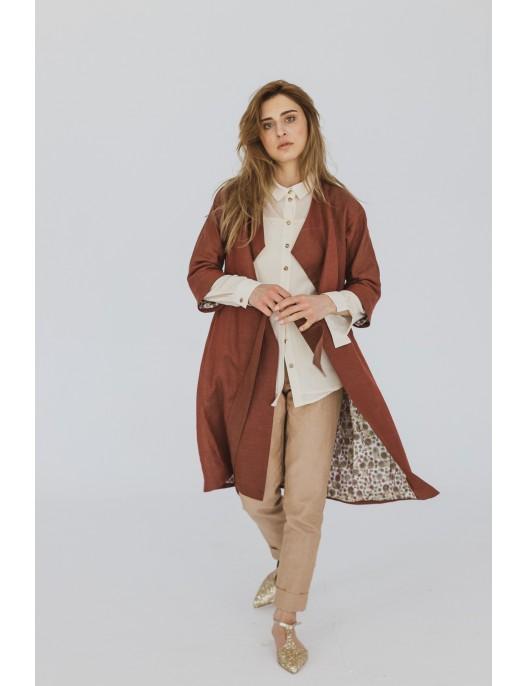 Cream shirt in fine wool