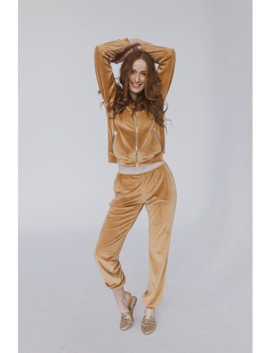 Beige velour jumper with...