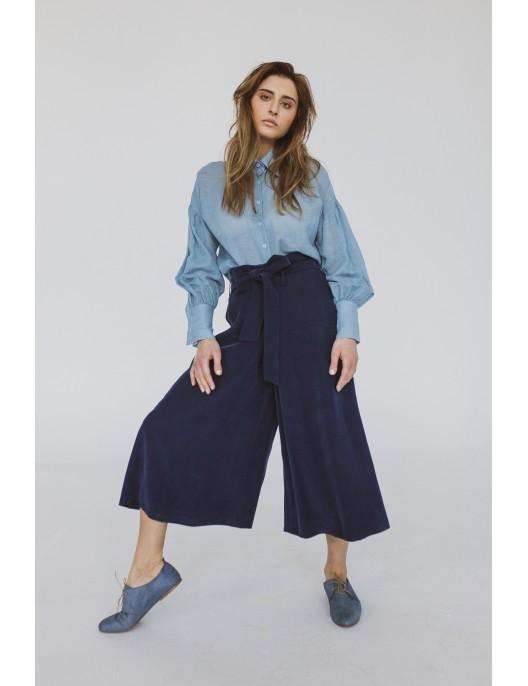 Navy blue viscose culottes