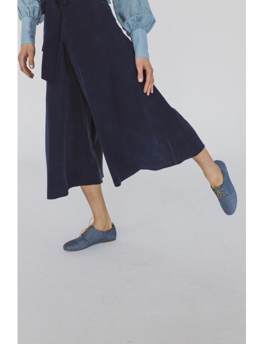 Navy blue viscose culottes