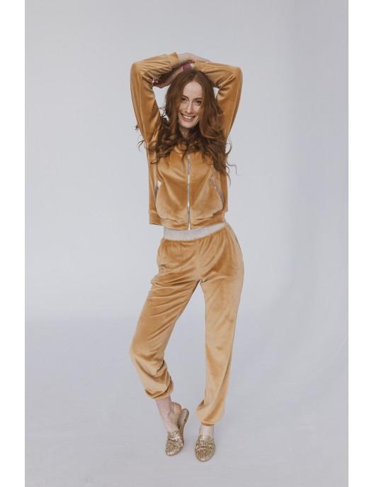 Beżowe welurowe spodnie