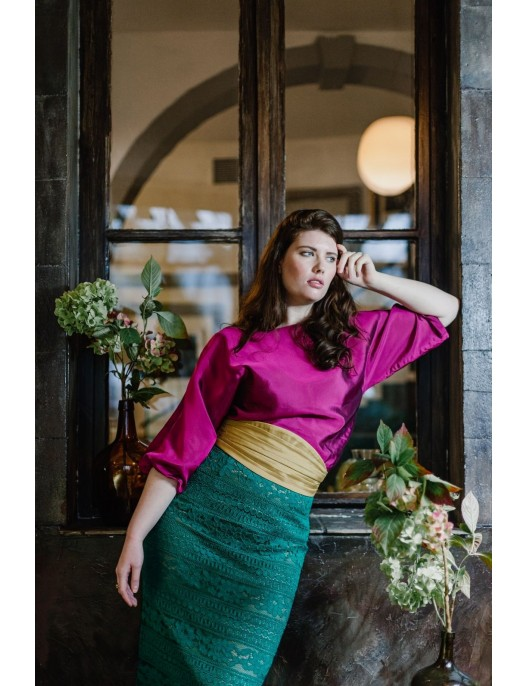 Green lace skirt with gold...