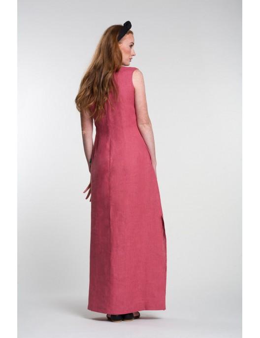 Różowa lniana sukienka