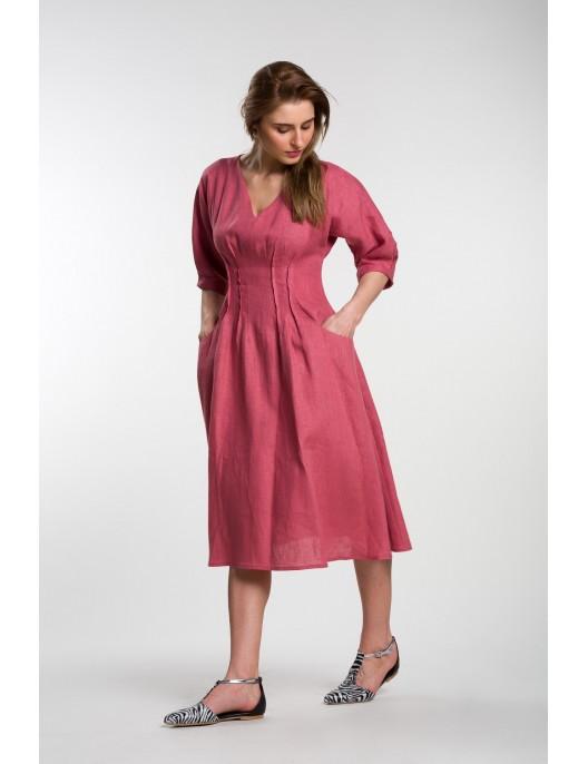 Raspberry-colored A-line dress