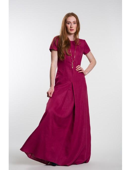 Long fuchsia linen dress