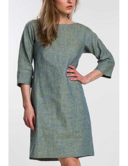 Green melange linen dress