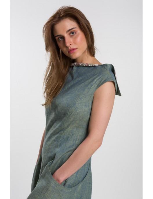 Melange green linen dress