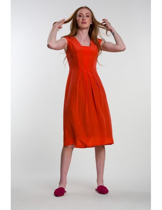 Orange silk dress
