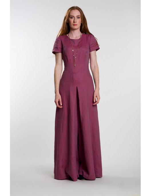 Melange pink linen jumpsuit