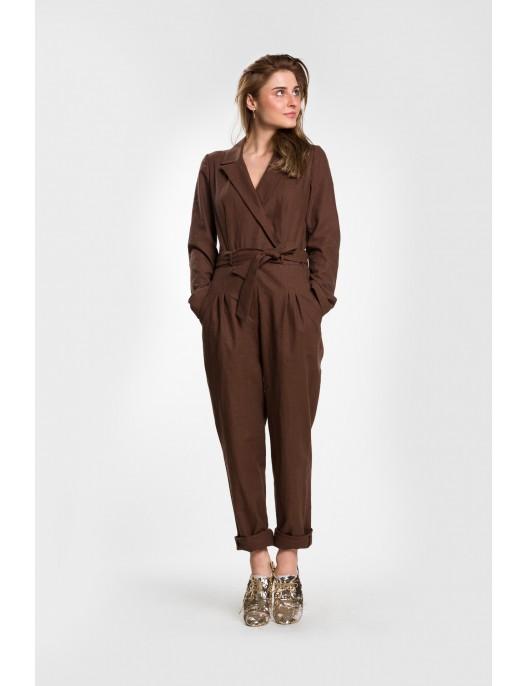 Brown linen jumpsuit