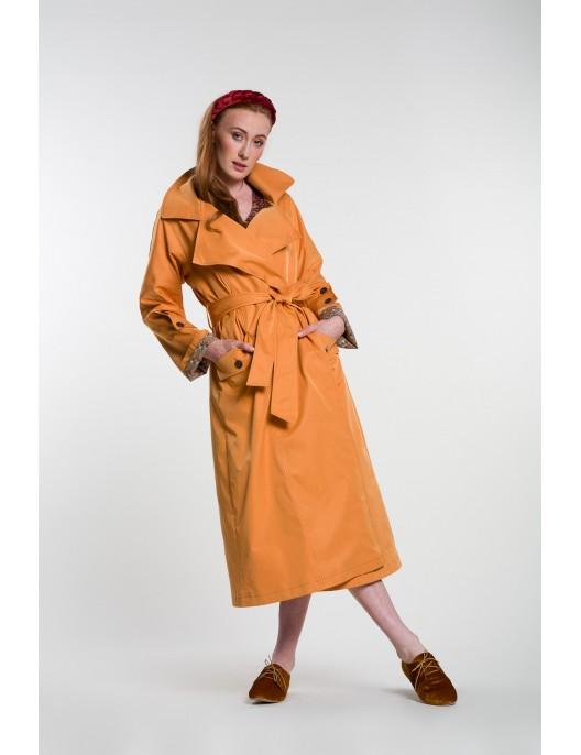 Orange long trench coat