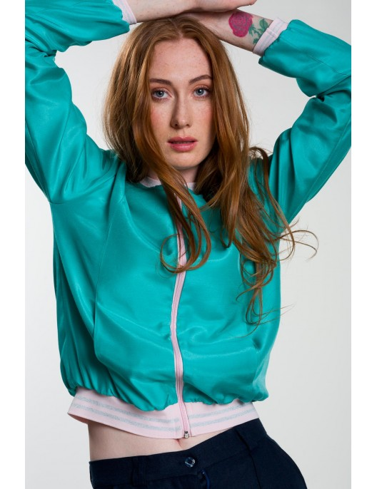 Turquoise bomber jacket