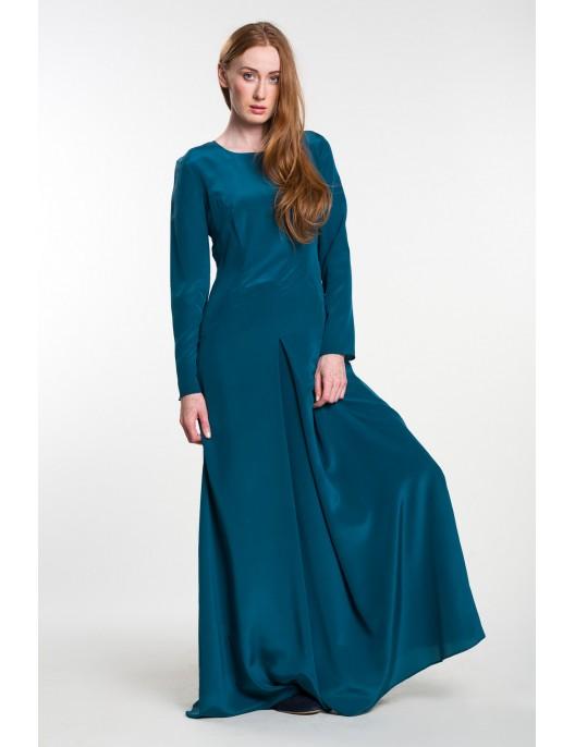 Long turquoise silk dress