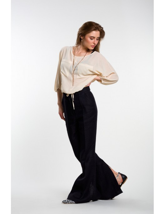 Cream blouse made of fine wool