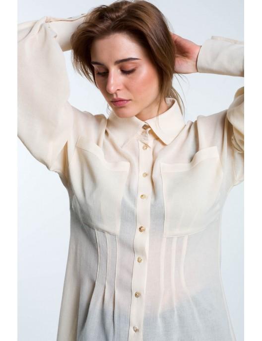 Cream shirt in fine wool II