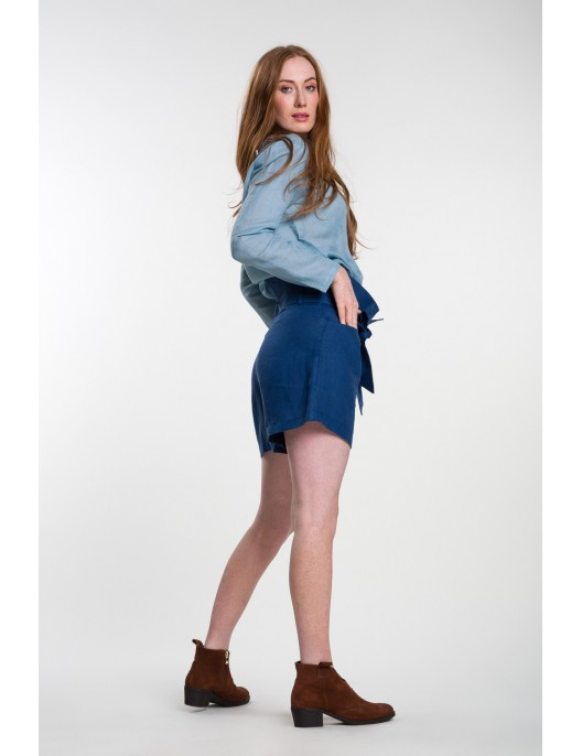 Blue linen shorts